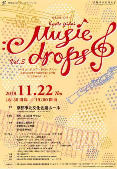 文化会館コンサートⅠ 京都市立芸術大学 音楽学部・大学院音楽研究科 管・打楽専攻生によるアンサンブル 「music drops」