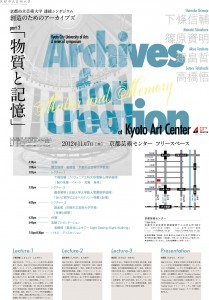 京都市立芸術大学連続シンポジウム「創造のためのアーカイブ」Part2<br />「物質と記憶」